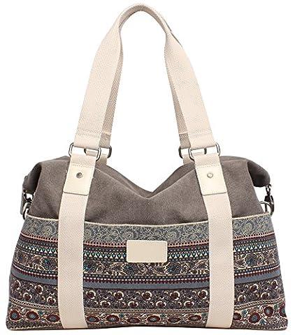 DCCN Women's Canvas Tote HandBags Bohemian Top-Handle Bags Ladies Shopper Shoulder Bags for Girls 44 x 30x 14cm
