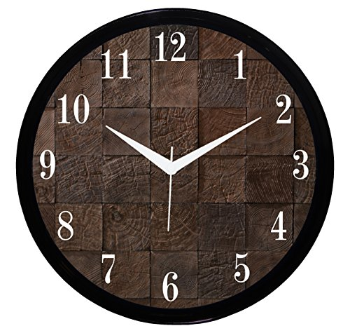 IT2M Wooden Look Non Ticking Sweeping Movement Round Plastic Wall Clock (28 cm x 28 cm x 5 cm, Black, 544B)