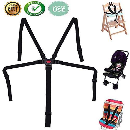 Hochstuhlgurte, Baby Kid 5-Punkt-Auffanggurt, Auffanggurt für Hochstuhl, Verstellbarer Drehbar Haken Baby Sicherheitsgurt für Kinderwagen-Hochstuhl, Kinderwagen Buggy (Schwarz)