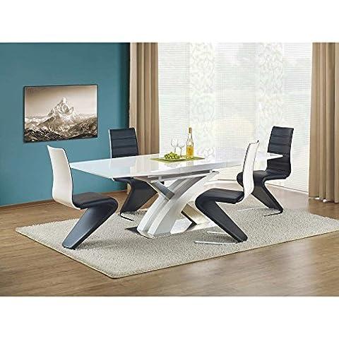 JUSThome Table de salle à manger Sandor extensible Blanc laqué