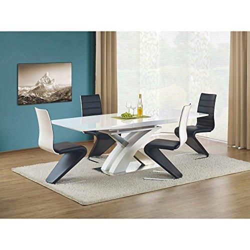 JUSTyou Table de Salle à Manger Sandor Extensible Blanc laqué Haute Brillance (LxlxH): 160÷220/90/75 cm