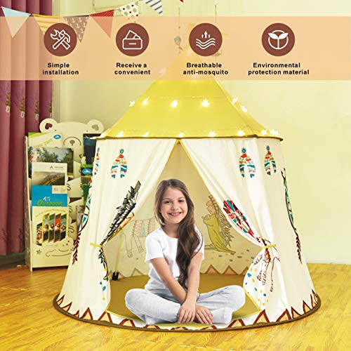 GeschenkIdeen.Haus - Kinderzelt Tipi Zelt für Kinder - Mädchen Jungen Indoor & Outdoor