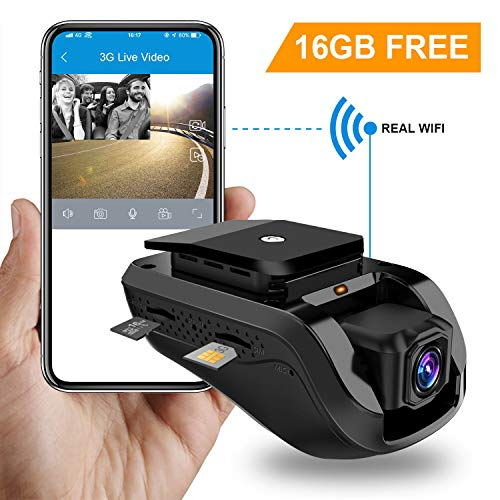 Dual Dash Cam, Toptellite 3G WiFi Auto Kamera 1080P Full HD Nachtsicht Kamera Vorne Hinten, DVR Dash Auto Kamera mit Loop Aufnahme, GPS Car Camera, G-Sensor, Vibrationsalarm, Kostenlose 16GB TF Karte -