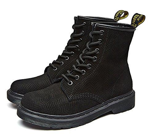 Aisun Femme Classique à Lacets Low-Boots Martin Bottes Noir