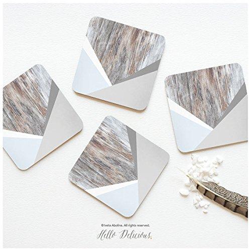 Untersetzer Set von 4Faux Holz Print, Helles Holz, Chevron Untersetzer, Verwitterte Holz grau geometrische drucken Untersetzer-Set, Holz Untersetzer