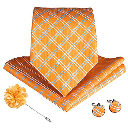 9 Styles Orange Gestreifte Plaids Paisley Herren Krawatten Mit Manschettenknöpfen Brosche Seidenkrawatte Ldnx0077 Orange Silk Bow Tie
