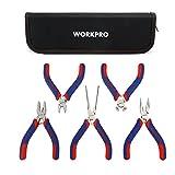 WORKPRO Mini Zangen mit Tasche, Diagonalschneiden, Endschneiden, Lange Nase, Linienrichter, Flachnase 5-TLG.