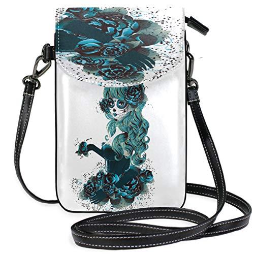 ZZKKO Mexikanische Hexe Rose Mini-Umhängetasche, Handtasche, Handtasche, Leder, für Damen, lässig, täglich, Reisen, Wandern, Camping