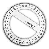 Westcott–Plastique Transparent Cercle complet Rapporteur 360°–15cm de diamètre