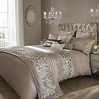 Kylie Minogue Petra Double Quilt Cover Bedding Bed Linen Sequined Pewter, Silver - inexpensive UK light shop.