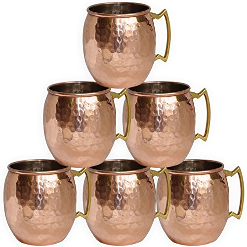 DakshCraft ® Copper Moscow Mule Tasse Hammered Dutch Design lackiert, Set aus 6 Tassen - 6 Becher