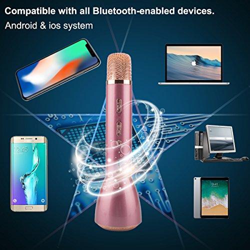 Bluetooth Mikrofon, Drahtlos Karaoke Mikrofon Batterie Mikrofon Kabellos Anlage mit Lautsprecher für Erwachsene Kinder die Aufnahme von Gesang und Sprache KTV Karaoke Player kompatibel PC, Laptop, iPhone, iPod, iPad, Android Smartphon - 6