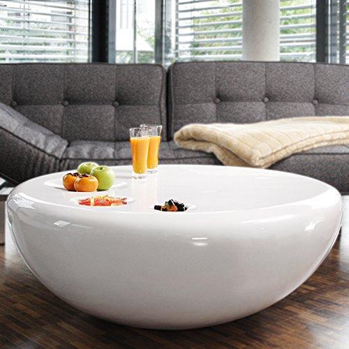 SalesFever Couch-Tisch weiß Hochglanz rund aus Fiberglas Durchmesser 100cm   Trisk   Super-Stylischer Wohnzimmer-Tisch im Retro-Design Glas Weiss 100 cm x 38 cm -