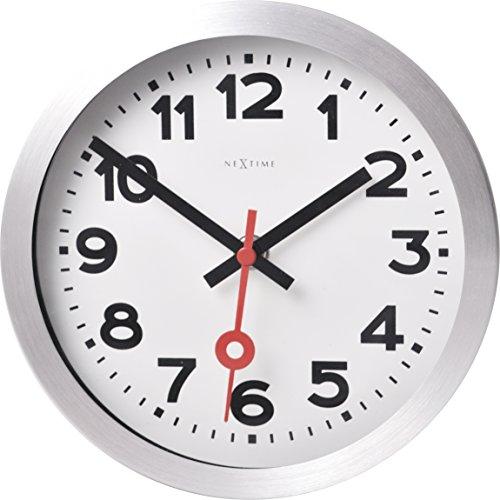 Nextime Reloj de Pared o de Mesa Station, Muy silencioso, Redondo, Blanco, ø 19 cm
