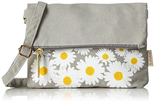 Adelheid-Damen-Glcklich-Blume-Handtasche-Umhngetasche-Grau-Grau-Mausgrau-3x25x22-cm