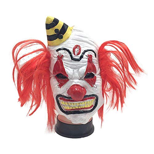 YaPin Halloween Clown Maske mit Perücke Lustige Latex Clown Requisiten Grimasse Horror Scary Masquerade Maske