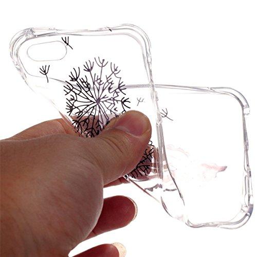 iPhone 5S Coque, iPhone SE Coque, Lifeturt [ Pissenlit ] Etui Transparent élégant TPU Gel Coque Silicone Shell Housse 3D Case Cover Motif Impression Creative Ultra Mince Cas Sac Skin Protection Shell  E02-Pissenlit