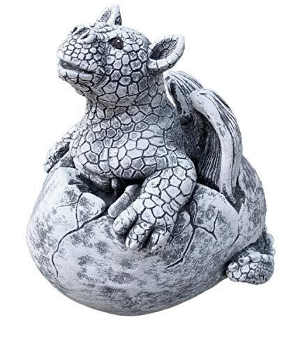 Steinfigur Drache Gulliver im Ei, Frost- und Wetterfest, massiver Steinguss (Drachen-ei-stein)