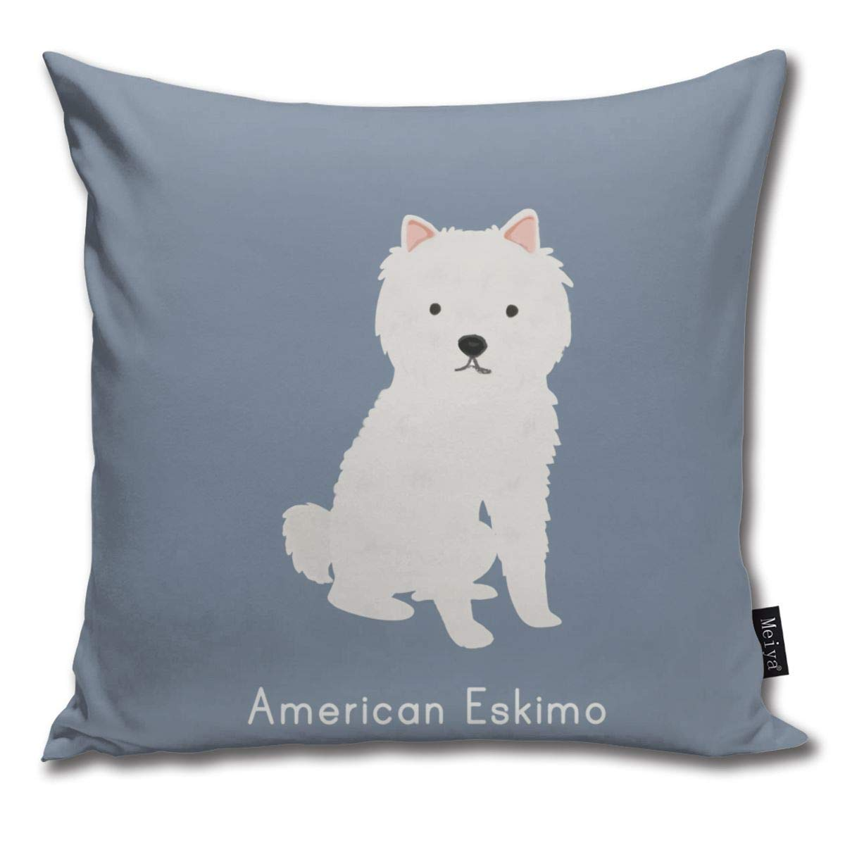 Jennsala Cute American Eskimo Dog Decorative Pillowcase for Home Sofa Bedding Couch 18 x 18 Inch