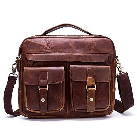 Mens Leather Satchel Messenger Bag Briefcase Laptop Bag Shoulder Bag (Dark Brown)