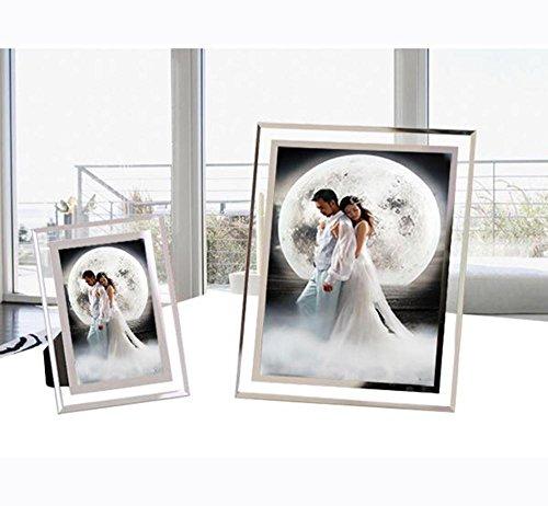 WENBIAOXUE Kreativ-Studio Glas Fotorahmen Kristall-Rahmen Schaukeln für Kinder Belobigung Zertifikat Dokumente Foto Fotorahmen , 8 inch (Gläser Diamant Geformte)