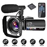 Videokamera Video Camcorder 2.7K Camcorder 30MP YouTube Kamera 18X Camcorder Full hd mit Mikrofon und Gegenlichtblende