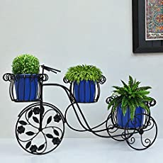 Furnish Craft Cycle Style Stand with 3 Metal Pot: large tricycle,Planter stand, stand for pots, pot stand for plants, pot stand for plants in balcony, stand for flower pots, Planters, return gift , gifting, birthday
