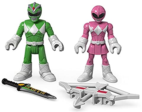 Fisher-Price – Imaginext – Power Rangers : Mighty Morphin – Ranger Vert & Ranger Rose – 2 Mini Figurines