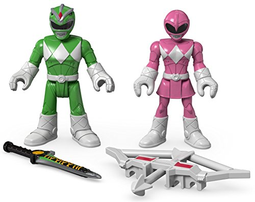 Fisher-Price - Imaginext - Power Rangers - Grüner Ranger & Rosa Ranger - 2 Mini Spielfiguren + Accessoire