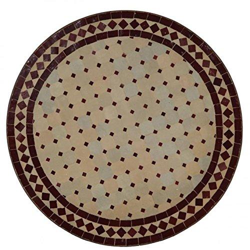 Casa Moro Mediterraner Gartentisch marokkanischer Mosaiktisch Ø 70 cm rund Bordeaux terrakotta mit Gestell Höhe 73 cm Kunsthandwerk aus Marrakesch | Dekorativer Bistrotisch Balkontisch MT2085