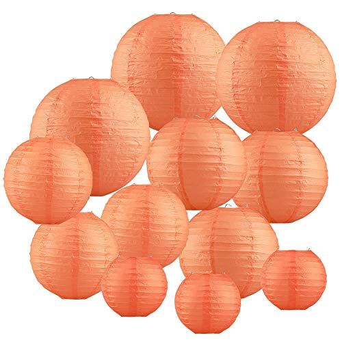Papierlaterne 12 Stück Orange Papier Lampions Schöne Hochzeit Deko Papierlampe rund Papier Laterne Lampenschirm Garten Party Dekoration Ballform (verschiedene Größen)