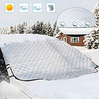 Windscreen Snow Cover, Aodoor Car Windscreen Frost Cover Wind Proof Ice Protector Universal for Most Car, SUV, Truck, Van, 183 X 116 CM