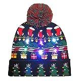 Amphia Weihnachtsmütze - LED-Licht Weihnachtskugel Strickmütze - Frohe Weihnachten LED Leucht-Strickmütze Beanie Hairball Warm Cap Geschenke