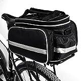 LeKing Portapacchi Bici, Esterno Impermeabile Multifunzione Portapacchi Bicicletta Portatile Portapacchi Bagagli Portapacchi Posteriore Bagagliaio con Coperchio Antipioggia