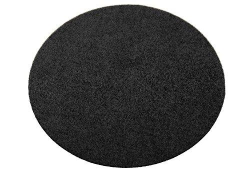 Deko-Matten-Shop Fußmatte Classic, Schmutzfangmatte, rund, 60 cm Durchmesser, schwarz, in 9 Größen und 11 Farben - Schwarz Akzent Teppich