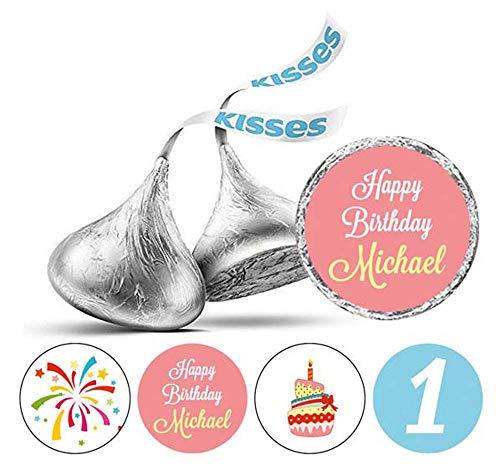 Darling Souvenir Personalisierte Schokolade Labels 1. Geburtstags-Name-Aufkleber 190 PC-Peach & Light Blue