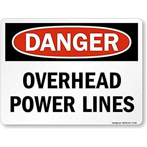 Tin Sign Fashion Danger, Overhead Power Lines Wall Decor Metal Sign 12x8 Inches -
