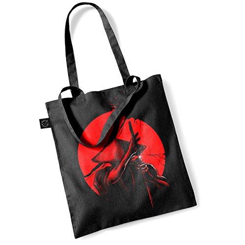 Customized by S.O.S Earth Positive Classic Shopper Tote Bag Einkaufsbeutel Tragebeutel mit langen Henkeln Samurai (Schwarz) -