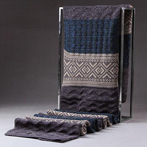 leisial Homme Hiver Chaud Longue écharpe addensare à rayures écharpe 185* 32cm Bleu/gris Bleu/gris