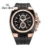 Uhren für Männer Wasserdicht Männer Wasserdichte Männer Armbanduhr Mann Runde Uhr Männer dünne Silikagel Studenten Sport Quarzuhr Uhr-Luxusgeschäfts-Uhren (Black)