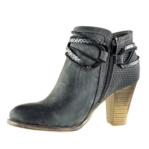 Angkorly - damen Schuhe Stiefeletten - Reitstiefel - Kavalier - bi-Material - gesteppt schuhe - Knoten - camouflage Blockabsatz high heel 8 CM Schwarz