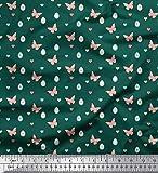 Soimoi Grun Baumwoll-Popeline Stoff Schmetterling, Herz &