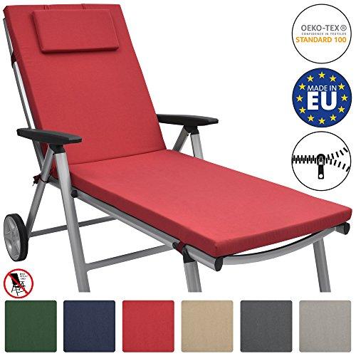 Galleria fotografica Beautissu Cuscino imbottito per sedie a sdraio e lettini prendisole Loft RL 200x60x5 cm - sfoderabile - rosso