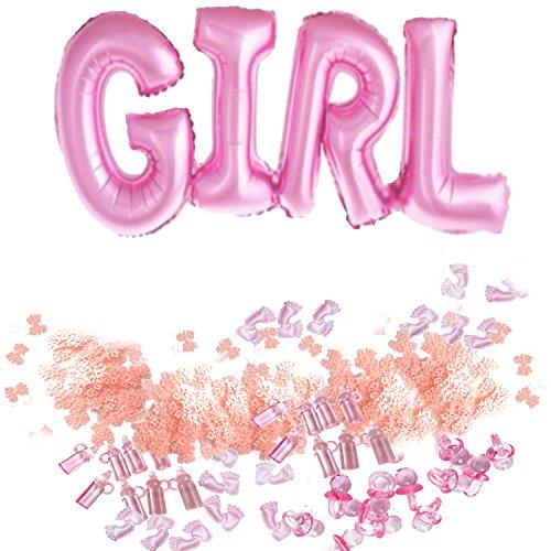 BUWANT Girl Balloons Mini botella de chupetes baby shower bautizo fiesta de nacimiento favorece pies confeti decoraciones de mesa y es una chica Konfetti