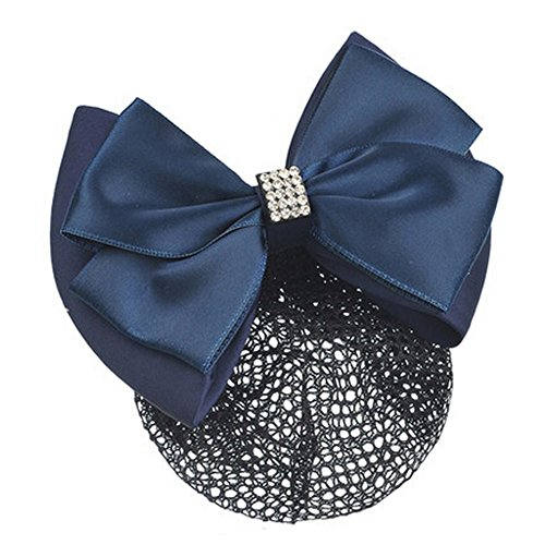 Mesdames Bow Tie Spring clip Barrette Barrette Pin Snood Cheveux net, Marine