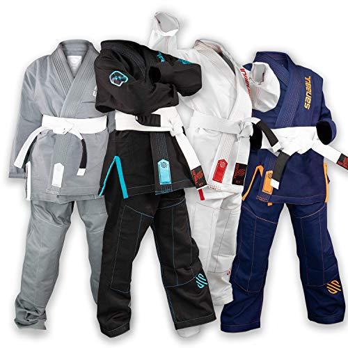 d Kinder Brazilian Jiu Jitsu BJJ Gi, Unisex-Kinder, schwarz/blau, K4 ()