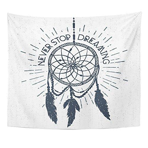 Emvency Tapiz con diseño de Mandala 127 x 152 cm, para decoración del hogar, con atrapasueños y Nunca Dejes de soñar, tapices inspiradores de Letras, Dormitorio, Sala de Estar, Dormitorio