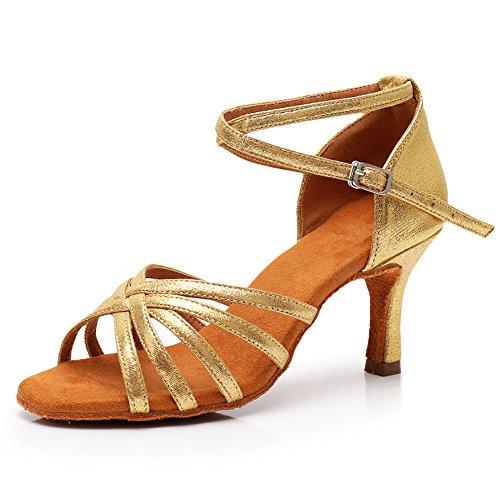 SWDZM Damen Ausgestelltes Tanzschuhe/Standard Latin Dance Schuhe Satin Ballsaal ModellD213-7 Gold EU38.5 - 2