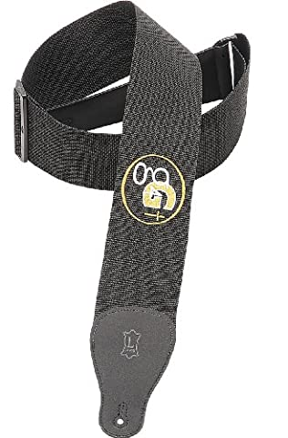 Levy's Leathers 3 inch Polypropylene Guitar Strap with G4g Embroidered Design - Black