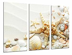 Quadro moderno fotografico Sabbia Spiaggia con stella di mare, conchiglie conchiglie, bagno, 97x 63cm, rif. 26994